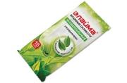 Салфетки влажные 15 шт., ЛАЙМА, универсальные очищающие, с экстрактом зеленого чая, 125956