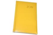 2019 Ежедневник дат, А5, BRAUBERG Select, кожа классик, желтый, 138*213мм, 129101