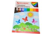 Цветная бумага А4 мелованная,  8л. 8цв., на скобе, BRAUBERG, 200х280мм, Бабочки, 129547