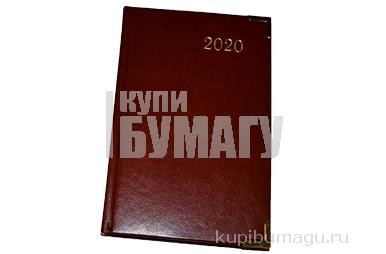 2020 Ежедневник датированный 2020 А5, BRAUBERG Senator, гладкая кожа, метал. углы, коричневый, 138*21