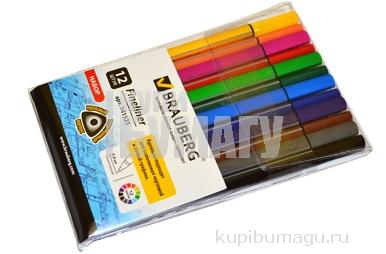 Ручки капиллярные BRAUBERG, НАБОР 12шт, Aero, трехгранные, металл. наконечник, 0,4 мм, ассорти, 141525