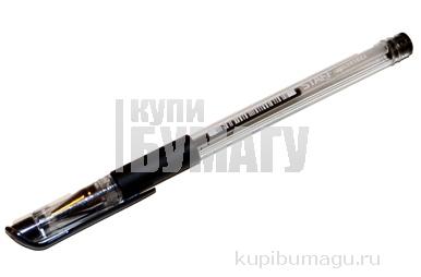 Ручка гелевая с грипом STAFF, корпус прозрачный, пишущий узел 0,5 мм, линия 0, 35мм, черная,