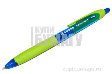 Ручка шариковая масляная автомат. STABILO Performer+, зелен. детали, 0,5 мм, линия 0, 3мм, син, 328/3-41