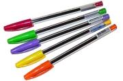 Ручка шариковая масляная BRAUBERG lce СИНЯЯ, детали ассорти, узел 0, 6мм, линия 0, 3мм, 142935