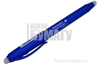 Ручка стираемая гелевая с грипом BRAUBERG SOFT&SILK, СИНЯЯ, узел 0, 7мм, линия 0,5 мм, 143253