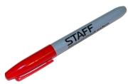 Маркер перманентный (нестираемый) STAFF, эргономичный корпус, круглый након. 2мм, красный, 151235