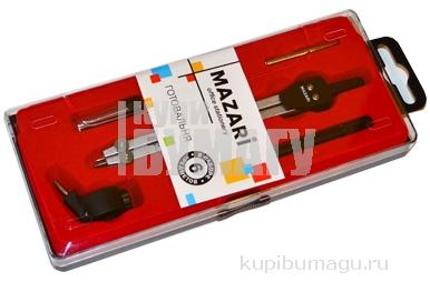 Готовальня 06 предметов циркуль 89мм металл е/п MAZARI М-4506