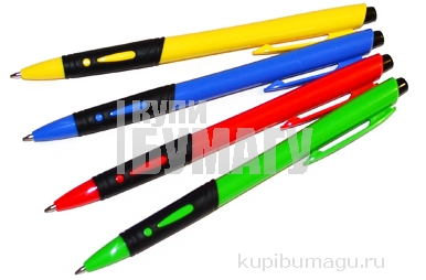 Ручка шариковая автоматическая синяя, 0, 7мм, грип, OfficeSpace цветной корпус