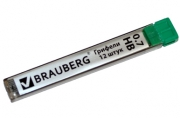 """Грифели запасные BRAUBERG, КОМПЛЕКТ 12 шт, """"Hi-Polymer"""", HB, 0, 7 мм, 180446"""