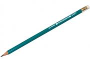 Карандаш ч/гр STAFF, 1 шт., НВ, пластиковый, зеленый корпус, с резинкой, заточ, 180963