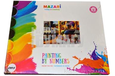 """Картины по номерам 40*50 """"Пейзажи. Фруктовый рынок и кафе"""" MAZARI M-6413"""