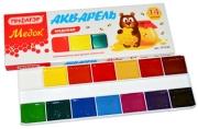 Краски акварельные ПИФАГОР МЕДОК, 14 цветов, медовые, без кисти, картонная коробка, 191320