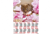 2020 Календарь А2 Мышка в розовых пионах №2