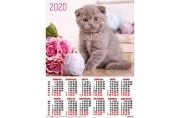2020 Календарь А2 Серый британский котенок № 8