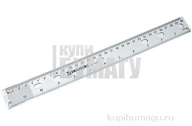 """Линейка пластиковая 30 см, BRAUBERG """"Crystal"""", прозрачная, 210284"""