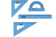 Набор чертежный средний ПИФАГОР (линейка 20 см, 2 треуг., трансп. ), тонированный, европодвес, 210628