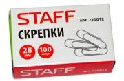 Скрепки STAFF 28 мм, металлические, 100 шт.. в карт. коробке,