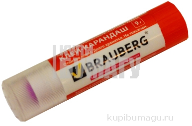 Клей-карандаш BRAUBERG 9 г обесцвеч. цветной