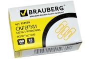 Скрепки BRAUBERG 28 мм золотистые, 100 шт., в карт. коробке