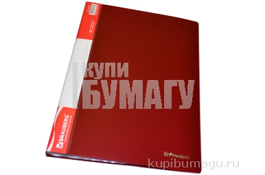 Папка 40 вклад. BRAUBERG Стандарт, красная, 0, 7мм, 221602