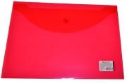 Папка-конверт с кнопкой BRAUBERG А4, прозрачная, красная, до 100 листов, 0, 15мм,