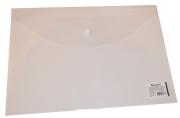 Папка-конверт с кнопкой BRAUBERG А4, прозрачная, до 100 листов, 0, 15мм, 221638