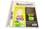 Папки-файлы перфорированные А5 BRAUBERG, КОМПЛЕКТ 100шт., вертикальные, гладкие, Яблоко, 0, 035мм,