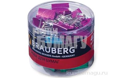 Зажимы для бумаг 19 мм, на 60 листов, цвет металлик КОМПЛЕКТ 40 шт,  пласт. цилиндр BRAUBERG,, 223504