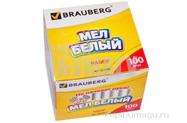Мел белый BRAUBERG АНТИПЫЛЬ, круглый, 223550