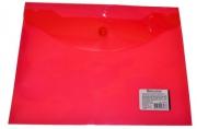 Папка-конверт с кнопкой BRAUBERG А5 240*190мм, прозрачная, красная, 0, 15мм, 224026