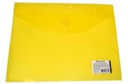Папка-конверт с кнопкой BRAUBERG А5 240*190мм, прозрачная, желтая, 0, 15мм, 224028