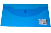Папка-конверт с кнопкой BRAUBERG 250*135мм, прозр, синяя, 0, 15мм, 224031