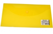 Папка-конверт с кнопкой BRAUBERG 250*135мм, прозр, желтая, 0, 15мм, 224032