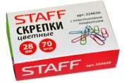 Скрепки STAFF эконом, 28 мм, цветные, 70 шт. в карт. коробке,