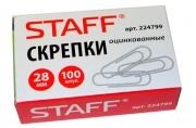 Скрепки STAFF эконом, 28 мм, оцинкованные, 100шт. в карт. коробке, РОССИЯ,