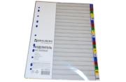 Разделитель пластиковый BRAUBERG А4, 20 листов, алфавитный А-Я, оглавление, Цветной, РОССИЯ, 225615