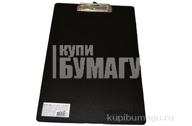 225986 Доска-планшет ОФИСМАГ с верхним прижимом А4, 23*35см, картон/ПВХ, РОССИЯ, ЧЕРНАЯ
