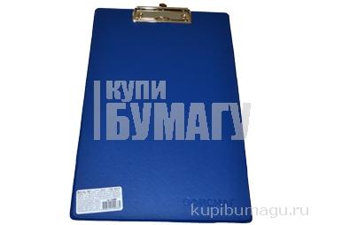 225987 Доска-планшет ОФИСМАГ с верхним прижимом А4, 23*35см, картон/ПВХ, РОССИЯ, СИНЯЯ