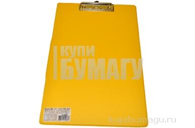 Доска-планшет ОФИСМАГ с верхним прижимом А4, 23*35см, картон/ПВХ, РОССИЯ, ЖЕЛТАЯ