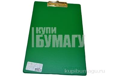 Доска-планшет ОФИСМАГ с верхним прижимом А4, 23*35см, картон/ПВХ, РОССИЯ, ЗЕЛЕНАЯ