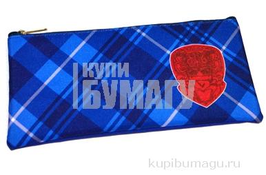 Пенал-косметичка BRAUBERG для начальной школы, мальчик, синий/голубой, Оксфорд, 20*10 см