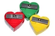 Точилка ПИФАГОР, без контейнера, пластиковая, ассорти, сердечко, 226532