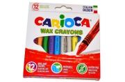 Восковые карандаши 12 цв., CARIOCA (Италия), смываемые, картонная коробка с европодвесом, 42366