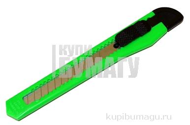 Нож канцелярский STAFF 9мм, фиксатор, цвет корпуса ассорти, упак. с европодвесом, 230484