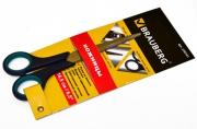"""Ножницы BRAUBERG """"Soft Grip"""", 165 мм, рез вставки, серо-зел, 3-х стор заточка, карт. уп с подв, 230761"""