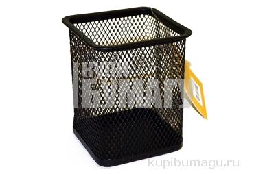 "Подставка-органайзер BRAUBERG ""Germanium"", черная металлическая, квадр. основан, 98х80х80мм, серебр, 231939"