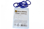 Бейдж BRAUBERG, 120х90 мм вертикальный, на синем шнурке 45 см, 2 карабина,  235716