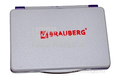 Штемпельная подушка фиолетовая краска 100*80 мм (рабочая поверхность 90*50 мм), BRAUBERG,