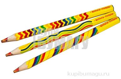 """Карандаш с многоцветным грифелем, утолщенный, заточен Мульти-Пульти """"Енот и радуга"""""""