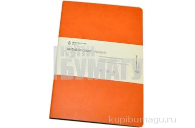 "Ежедневник недат., A5, 136л., кожзам, Greenwich Line ""Insight"", оранжевый, бирюзовый срез,"